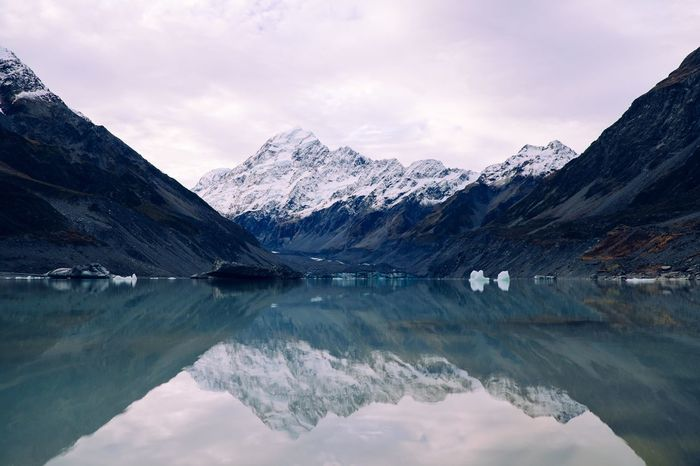 Mountain Reflection Beauty In Nature Lake Water Scenics Nature Tranquil Scene Mountain Range Tranquility Idyllic Waterfront Snow Sky Snowcapped Mountain Standing Water Outdoors Cold Temperature Glacier No People
