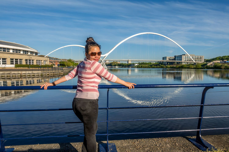 Stockton On Tees Teesside County Durham River Tees Tees Infinity Bridge Water One Person Lifestyles Real People Casual Clothing Leisure Activity Standing Day Front View Architecture Nature Built Structure Sunlight Full Length Sky Childhood Child Outdoors Innocence