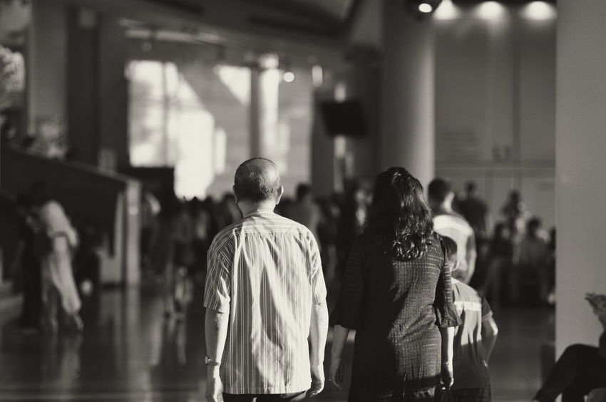 Couple Oldpeople Esplanade-theatres On The Bay B&W Street Photograpghy Indoors  Day