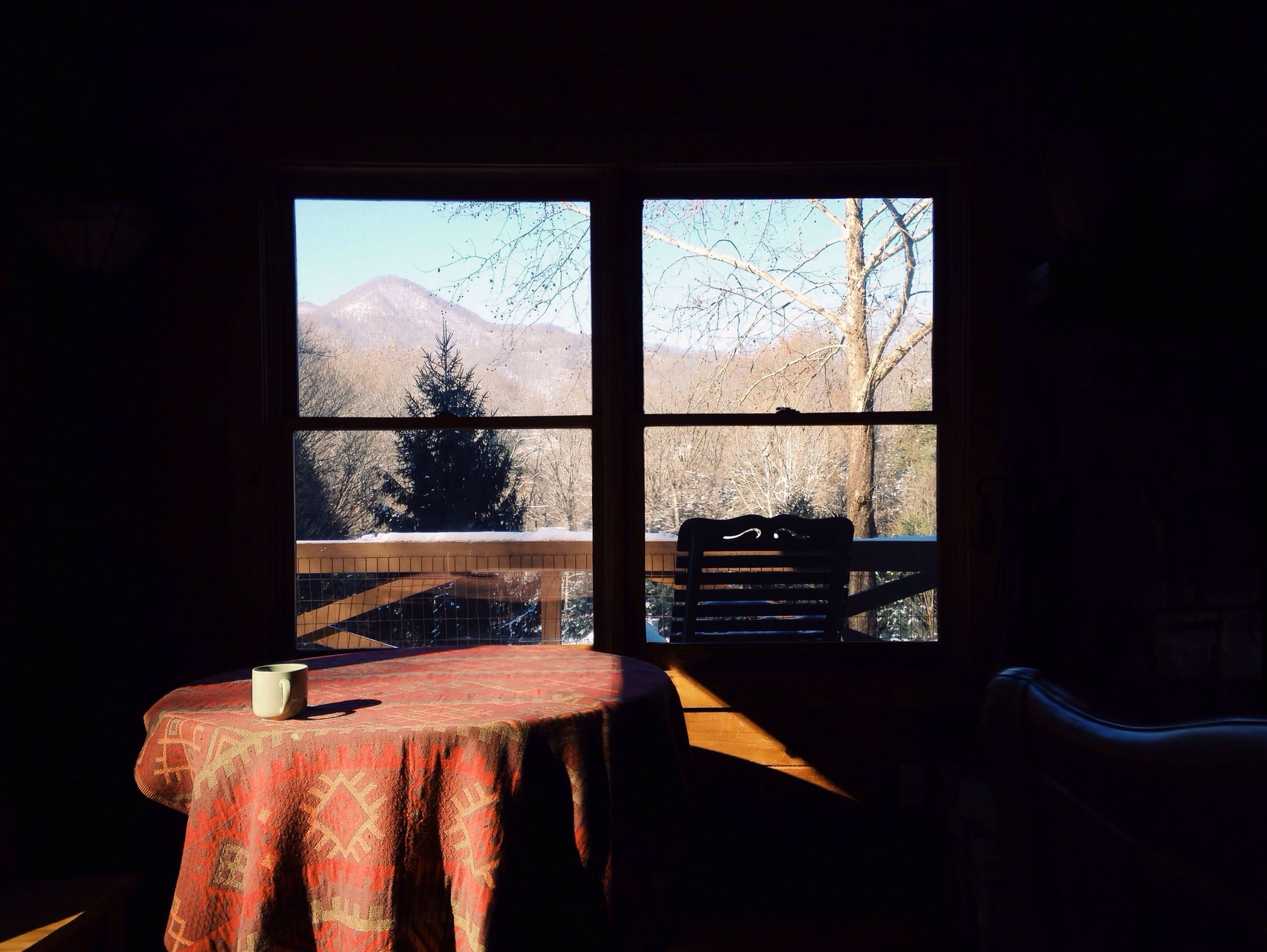 window, indoors, glass - material, transparent, home interior, curtain, house, tree, built structure, architecture, window sill, looking through window, day, table, cold temperature, sunlight, glass, absence, open, no people