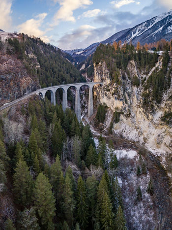 Mountain Cloud - Sky Tree Pine Tree Pinaceae No People Tranquility Forest Mountain Range Day Landscape Nature Beauty In Nature Sky Outdoors Railway Track Brick Bridge Over Water Bridge Train Train Tracks