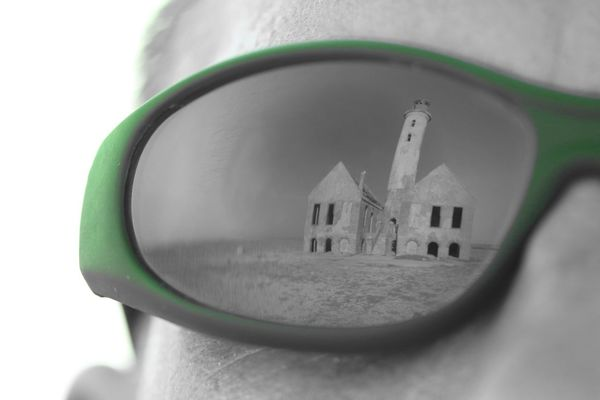 Klein Curacao Lighthouse Mirror Image Architecture Close-up Day Green Color Reflection In Glasses Sun Glasses White Background