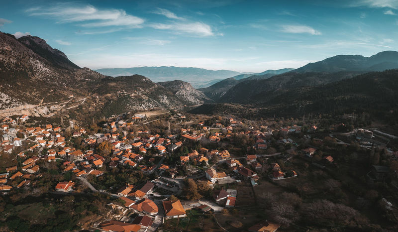 Beauty In Nature High Angle View GREECE ♥♥ Greece Dji View From Above View Landscape_Collection Landscape_photography Landscape Photography Photooftheday Moody Sky Village Vacations Wanderlust Wandering Mountain Range Trees Aerial View