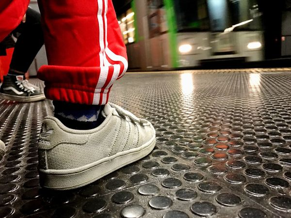 Saturday morning.. Focus Object Week On Eyeem Saturday Morning Metro Metro Station Real People One Person Men Low Section Human Leg Indoors  Occupation Close-up Adults Only One Man Only Day Adult People Adidas Adidas Superstar EyeEm EyeEm Gallery EyeEm Italy Shoes