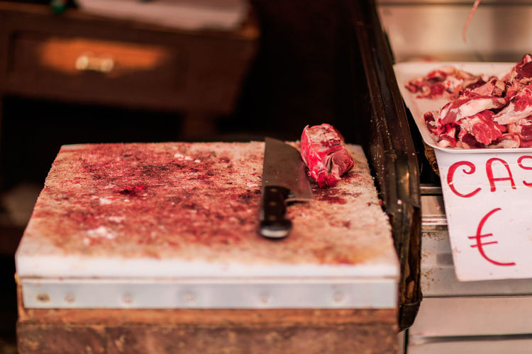Food Market Freshness Italien Italy Knife Meat Mise En Place Preparation  Selective Focus Sicilia Sicily Sizilien