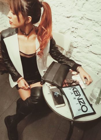 One Woman Only Sitting Outdoors High Angle View Bistrot Night HaveFun Only Women One Person Adult Adults Only Business Finance And Industry People Day Young Adult One Young Woman Only Leghorn First Eyeem Photo