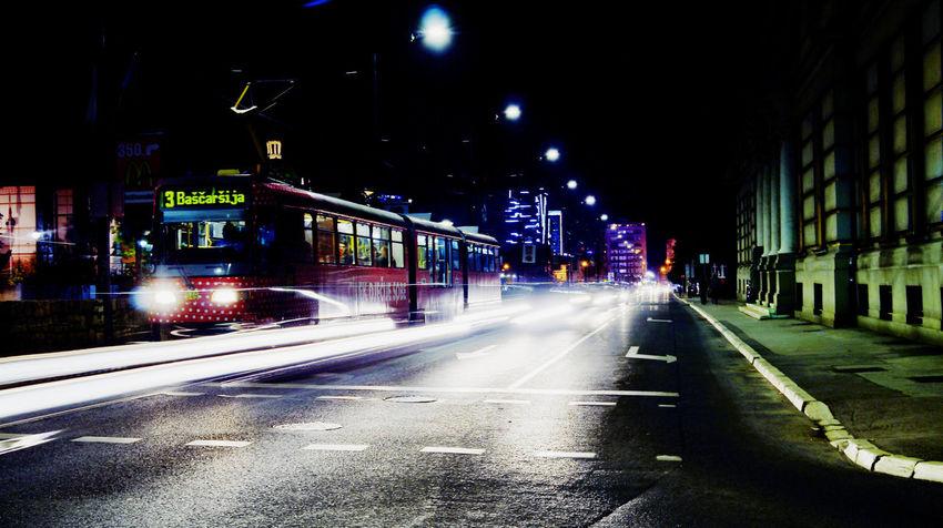Lights City City Street Illuminated Move Night Public Transport Speed Street Transportation