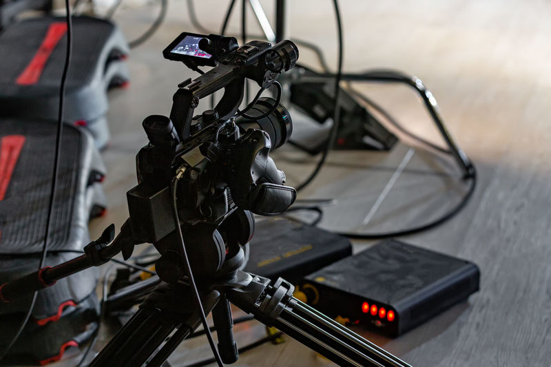 Close-up of camera on bicycle