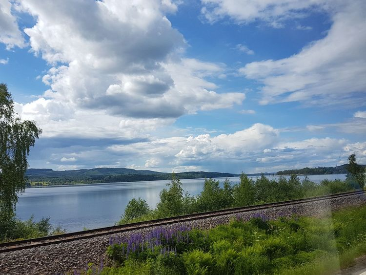 Through The Bus Window Railway Blue Sky Blue Water Clouds Beautiful Nature Beautiful Day Fryken Lysvik Värmland Sweden
