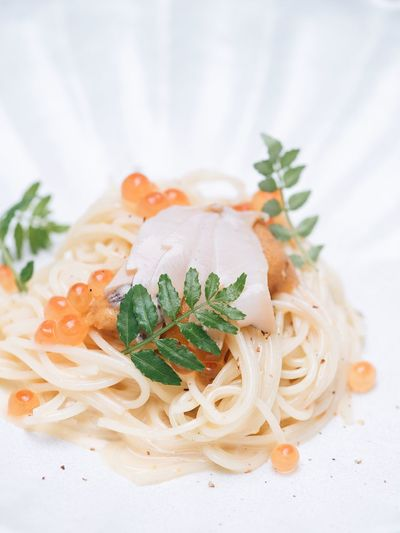 Uni, pasta, ikura Food And Drink Food Italian Food Pasta Indoors  Freshness Ready-to-eat Plate Herb No People Wellbeing Healthy Eating Close-up Still Life Garnish Vegetable Focus On Foreground Plant Spaghetti Indulgence