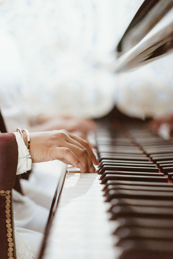 Selective Focus Indoors  Close-up Musical Instrument Piano Adults Only Day Human Body Part Adult Music Human Hand One Person People Only Women Bride