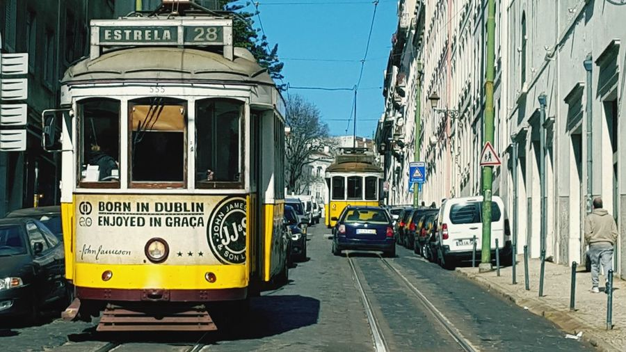 City Sky Day Outdoors Architecture Building Exterior Adult People Adults Only Lisboa Portugal Tramway Lisbon Tram Lisbon, Portugal Lisbon Streets Lisbon City Life Yellow Tram