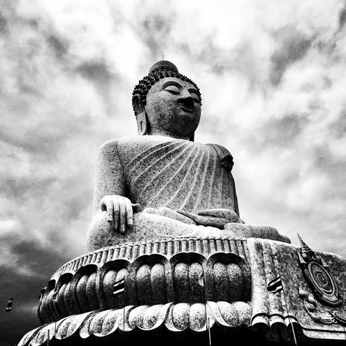 Low Angle View Human Representation Statue Male Likeness Art And Craft Sculpture Sky Religion Spirituality Outdoors Cloud - Sky Ancient Day No People Idol