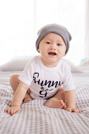 Baby White T Shirt Cutebaby Close Up Babysitting Babysmile Babyshoot White Background Babyhood Babies Only