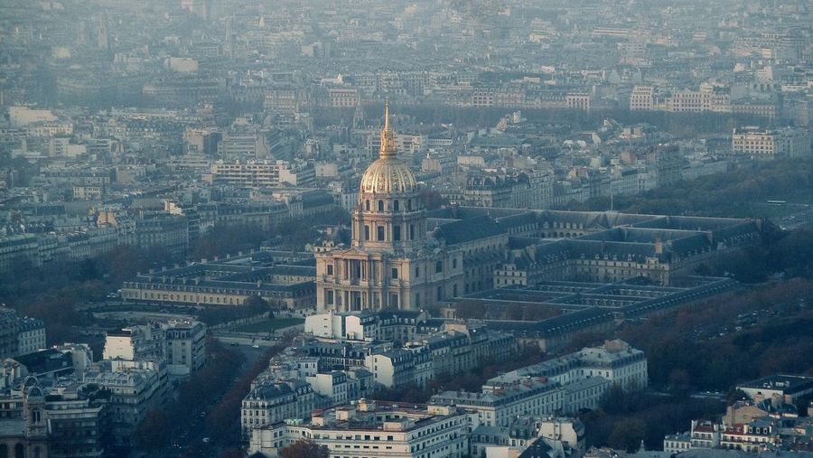 High angle view of les invalides in paris