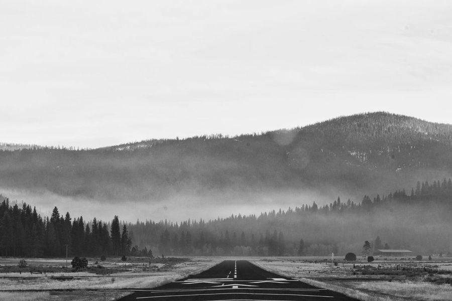 Tranquility Tree Nature Landscape Tranquil Scene Scenics No People Outdoors Beauty In Nature Day Cold Temperature Road Winter Sky Mountain Snow Runway Airport Black And White Beauty In Nature Tree On The Road