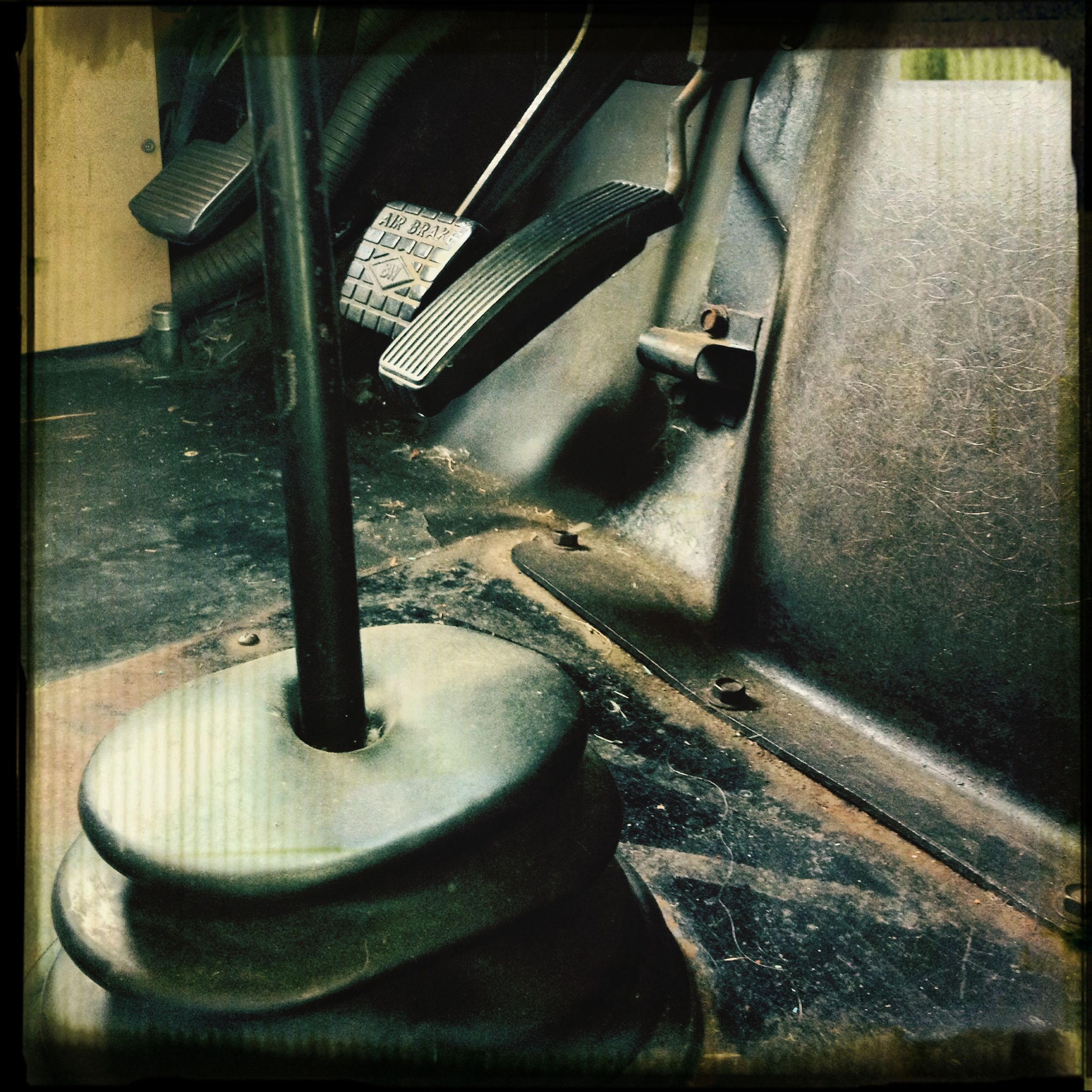 transfer print, auto post production filter, high angle view, indoors, metal, no people, close-up, chair, absence, empty, old, metallic, equipment, steps, railing, day, sunlight, still life, industry, abandoned