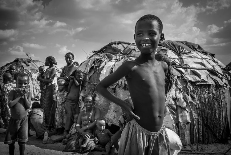 Childhood Child Portrait Togetherness Cloud - Sky Lifestyles Rural Scene Africa Day To Day Africa Bnw EyeEm Africa The Week on EyeEm Lake Turkana Tribal Village Tribal Culture Happy People Kenya365 My Kenya Into The Wild