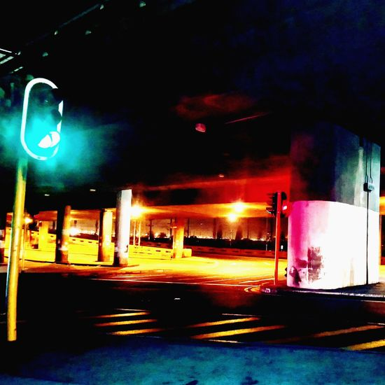 Green Robotlight No People Citylights Illuminated Night Transportation Flyovers