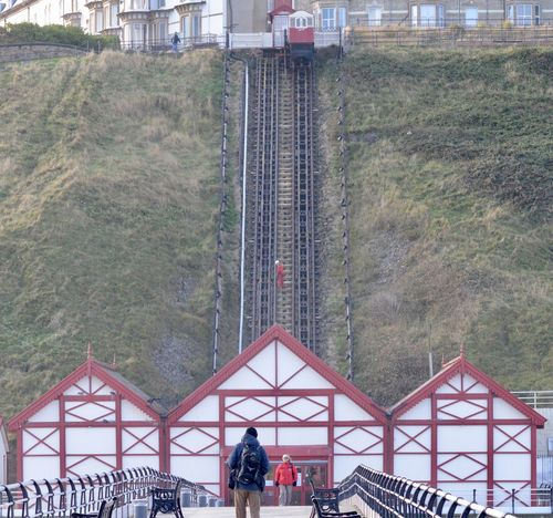 Worker on the cliff lift at Saltburn Victorian Engineering