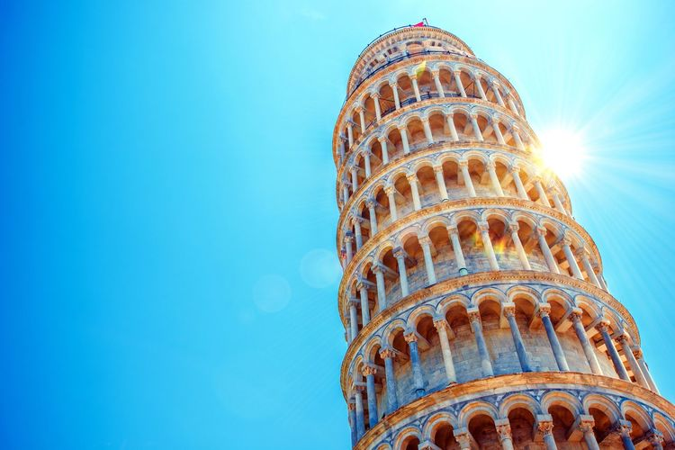 Leaning Tower Of Pisa Against Clear Blue Sky