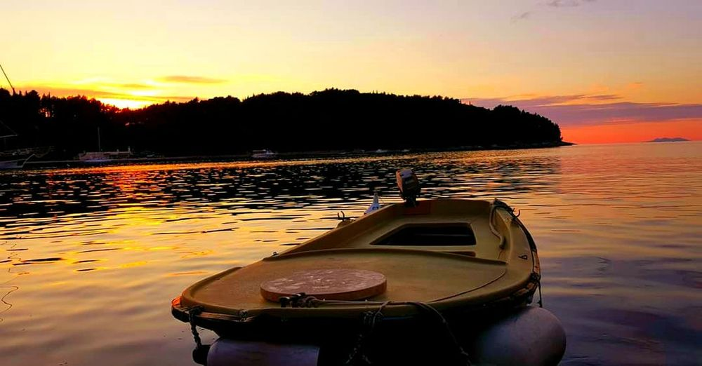 Sunset Water Reflection Nautical Vessel No People Silhouette