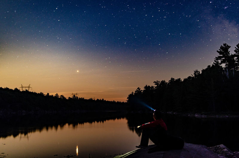 under the stars Camping Canada Outdoors Outdoor Photography Explore ExploreEverything Reflection Reflections In The Water Lake Lakeview Astrophotography Astronomy Milkywaygalaxy Man My Best Photo Astronomy Galaxy Space Milky Way Star - Space Constellation Tree Lake Silhouette Pine Woodland Flashlight Evergreen Tree Star Field Star Space And Astronomy