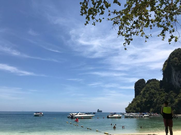 ทะเลไทย Water Sky Sea Tree Nautical Vessel Nature Beauty In Nature Outdoors Beach Scenics - Nature Horizon Over Water Cloud - Sky Crowd Day Group Of People Transportation Plant Incidental People Land Horizon