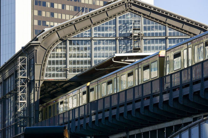 S-Bahn train leaving Friedrichstrasse station in Berlin, Germany Architecture Berlin Built Structure Business Finance And Industry City Color Image Day Departing Fire Escape Friedrichstrasse Station Germany🇩🇪 Horizontal Minute Hand No People Outdoors Photography Railing S-bahn Staircase Time Train