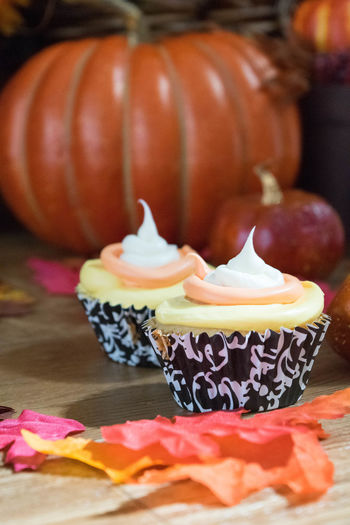 Autumn Colors Cupcakes Candy Corn Celebration Close-up Day Fall Food Food And Drink Freshness Halloween Indoors  No People Pumpkin Ready-to-eat Sweet Food Table