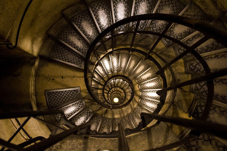 High Angle View Of Spiral Staircase In Building