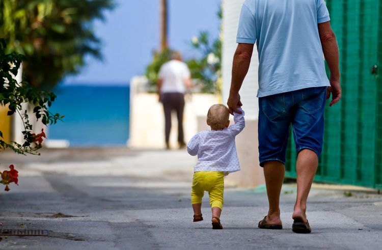 Baby Big And Small Blue Dad Daughter Day Granddad Grandpa Greece, Crete Ocean Ocean View Promenade S Sea Sky Small And Big Summer Toddler  Vacation Walking Feel The Journey