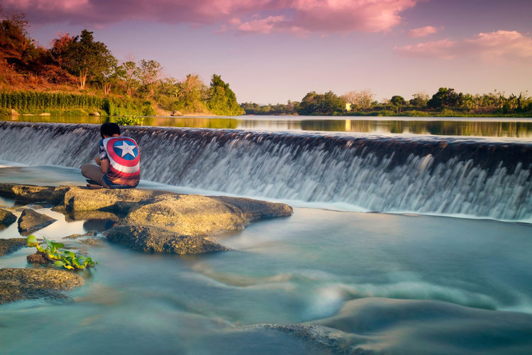 Hi Capt... Captain America Beauty In Nature Cloud - Sky Day Flowing Flowing Water Long Exposure Motion Nature No People Non-urban Scene Outdoors Plant Power In Nature River Rock Scenics - Nature Sky Solid Tree Water Waterfall Waterfront EyeEmNewHere