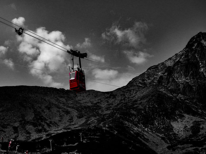 Sky Cloud - Sky Low Angle View Outdoors Mountain No People Nature Black & White Red Only Red Only Filter Black White Red Lanovka Day
