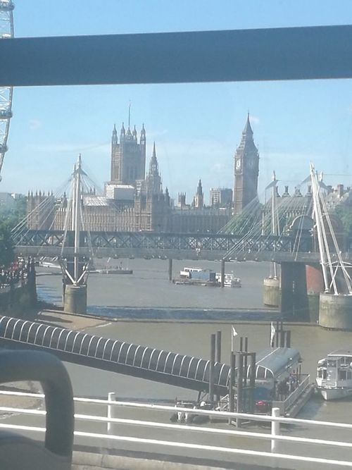 Bus view Urban Skyline Westminster Politics And Government Big Ben House Of Parliament River Thames London Eyesunny day city life through the window Cityscape Bridge - Man Made Structure