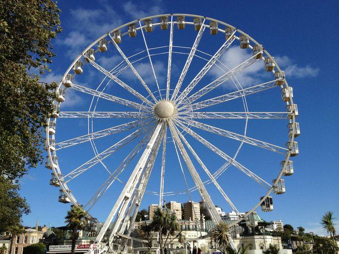 Blue Sky Low Angle View Amusement Park Built Structure Ferris Wheel