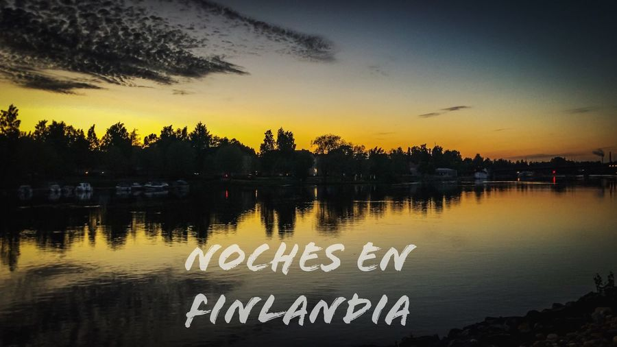 Nights in Finland !!! Tree Sky Sunset Water Text Plant Reflection No People Lake Nature Beauty In Nature Scenics - Nature Tranquility Architecture Outdoors Tranquil Scene Silhouette Western Script Communication