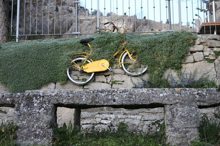 Hanging bike, are you trying to hide? Architecture Bicycle Bike Contemporary Art Day Grass Hangingthere Hiding Nature No People Outdoors Stone Stonewall Unusual Wall Yellow Sanmarino Sanmarinorepublic EyeEmNewHere Art Is Everywhere