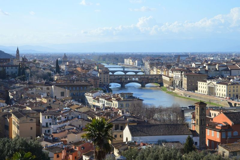 View from Piazzale Michelangelo in Florence, Italy Piazzale Michelangelo Michelangelo View From Above Cityscape Florence Firenze Florenz Aussicht Cathedral Ponte Vecchio Arno River River Bridge City View Roof Italy Italia Italien Old Town Sky Outdoors Panorama Panoramic TOWNSCAPE