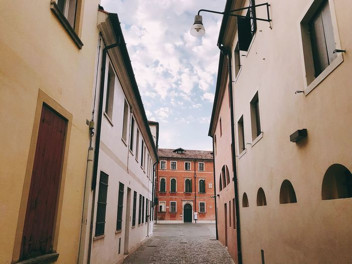 Architecture Old Town ShotOnIphone Treviso Italy Treviso, Italy Building Exterior Built Structure Architecture Sky Building City Cloud - Sky Residential District Wall - Building Feature Day No People Window Old The Way Forward Street Outdoors Town