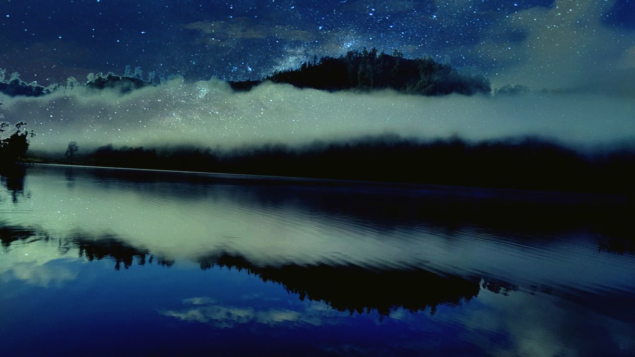 reflection, star - space, lake, night, beauty in nature, astronomy, star field, nature, sky, scenics, constellation, tranquil scene, water, galaxy, space, silhouette, milky way, no people, outdoors, starry