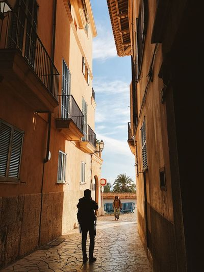 Palma de Mallorca, Spain Exploring Mediterranean  Palma De Mallorca SPAIN Silhouette Traveling Alley Architecture Blue Sky Building Building Exterior Built Structure Day Gap Between Buildings Lifestyles Light And Shadow Men Outdoors Residential District Street The Way Forward Two People Walking The Traveler - 2018 EyeEm Awards