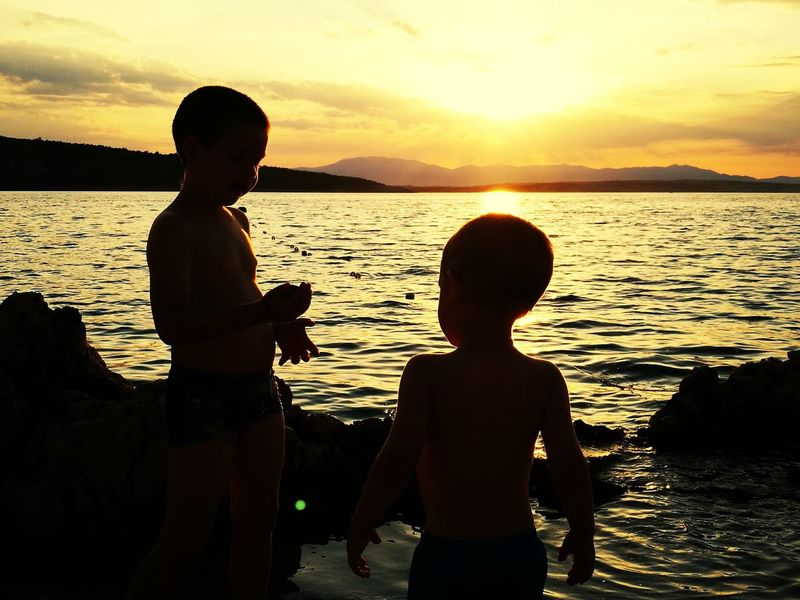Sunset Childhood Silhouette Beach Water Summer Togetherness Vacations Croatia ♡ EyeEmNewHere Croatia šilo Tranquility I Love The Sea I Love Sunsets I LOVE MY FAMILY❤ Done That. This Is Masculinity