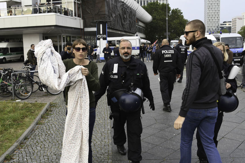Berlin, Germany - 24 September 2017: Protesters during right-wing Anti AfD Protest near Alexanderplatz in Berlin Protest Protesters Protesting Politics And Government Politics Demonstration Demonstrators Democracy Freedom Of Speech Right Wing Far Right Moving Through Europe Racism Racism Protest Police Police Force Night