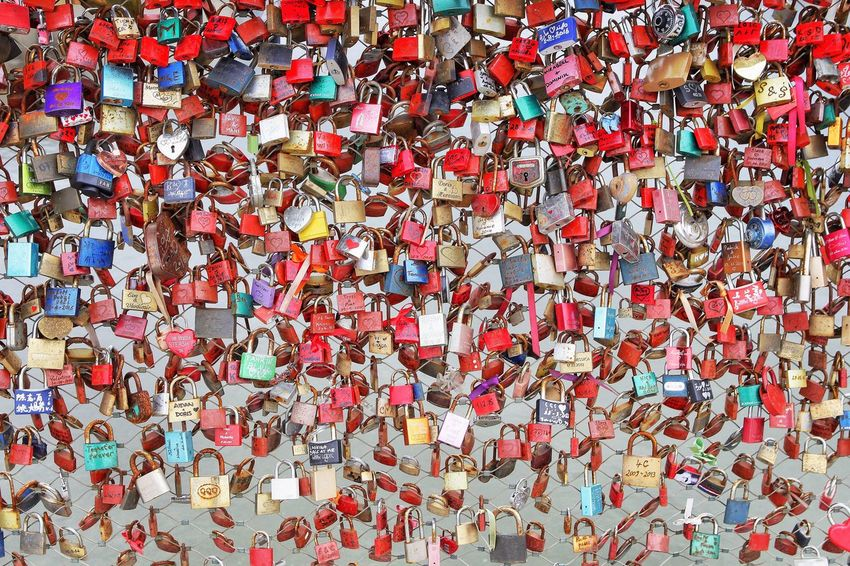 Love Locks Multi Colored Abundance Large Group Of Objects Full Frame Love No People Close-up Backgrounds Outdoors Day Lock