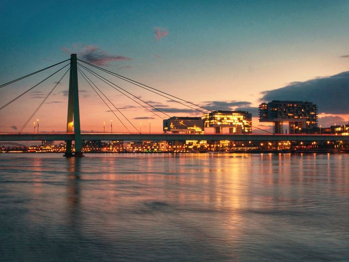 Cologne Sunset Built Structure Architecture Sky Water River Waterfront Connection Bridge - Man Made Structure Outdoors Sunset Suspension Bridge Beauty In Nature City