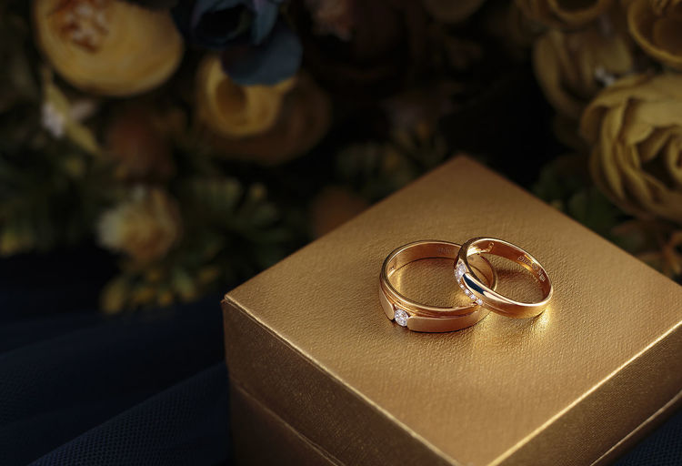 Close-Up Of Wedding Rings On Jewelry Box
