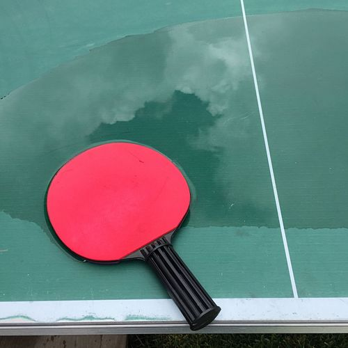 Close-up of table tennis racket