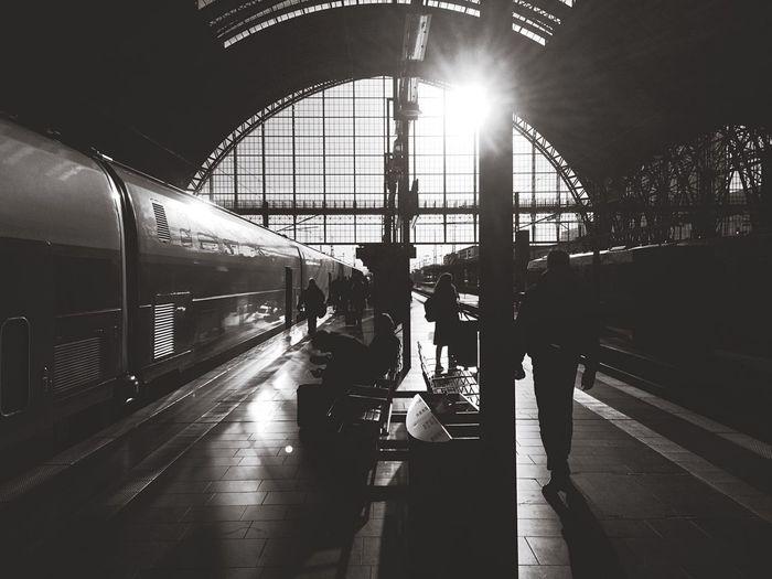 Speeding train at an underground railway station