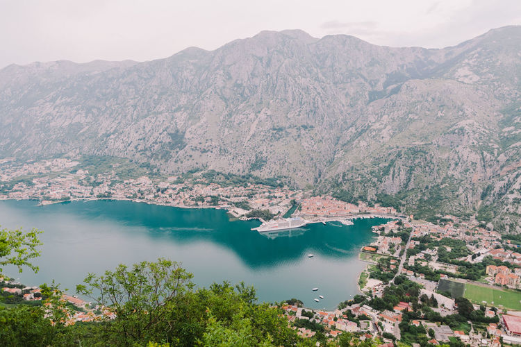 Kotor Bay top view with cruise ship background. Bay Area EyeEm Best Shots Harbor Nature Bay Beauty Beauty In Nature Kotor Landscape Montenegro Mountain Sea Seascape Top View